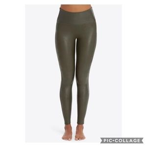 Spanx Olive Green Faux Leather Leggings 2X